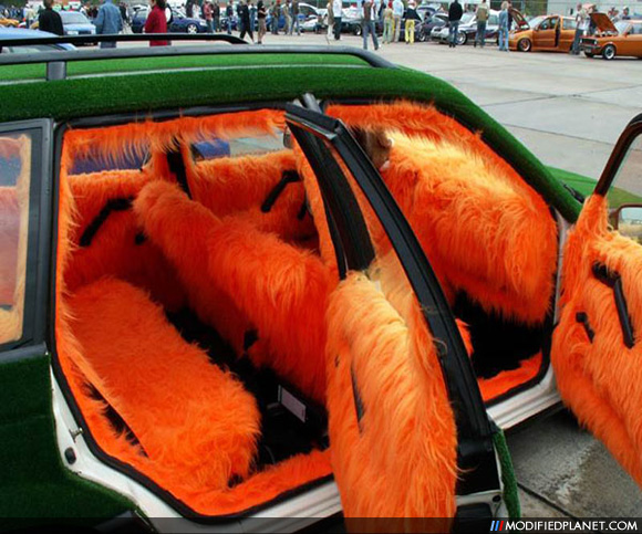 car with orange shag carpet interior and astro turf exterior
