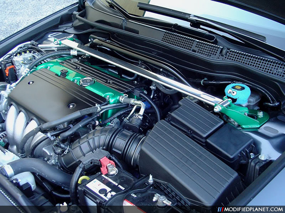 2005 Acura TSX Engine Bay with Tein Front Strut Bar