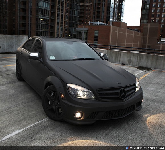 Mercedes benz c63 amg custom painted flat black for Mercedes benz jeep matte black