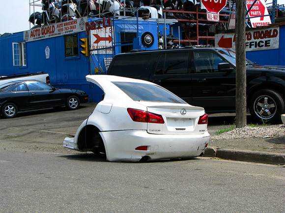 Crystal White 2009 Lexus Is350 Chopped In Half