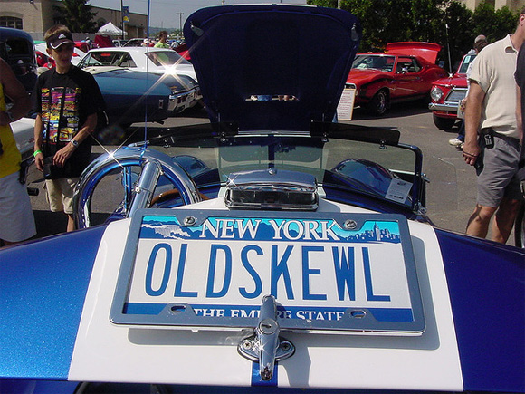 Old Skewl License Plate On Shelby Cobra Replica