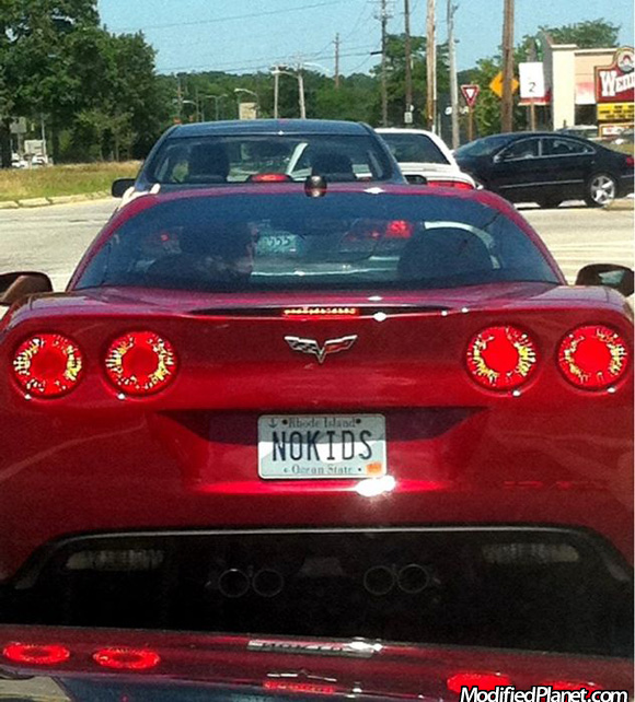2009 Chevrolet Corvette with No Kids License Plate