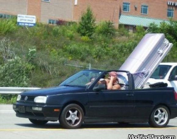 1999 Volkswagen Cabrio Hauling Funeral Casket