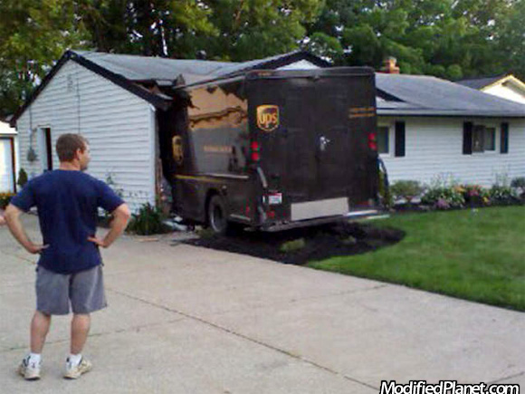 Ups Truck Crashes Into House
