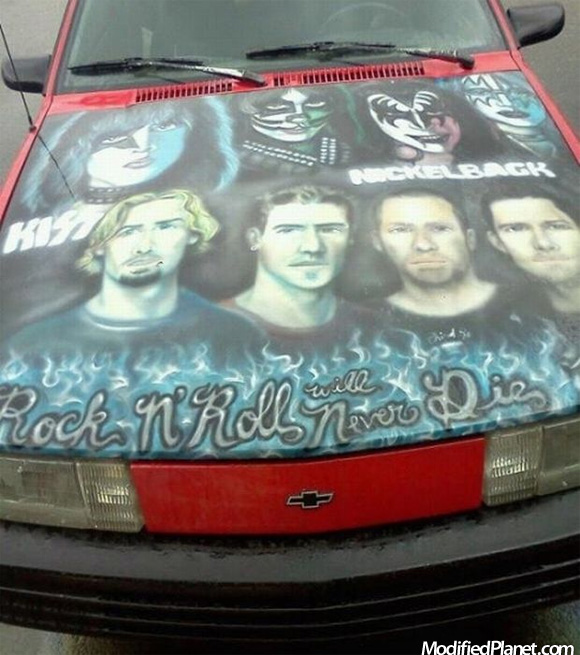 1993 Chevrolet Cavalier With Kiss And Nickelback Hood Mural