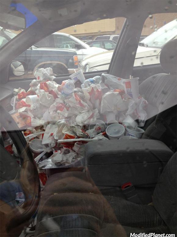 mcdonalds garbage inside car fail. Black Bedroom Furniture Sets. Home Design Ideas