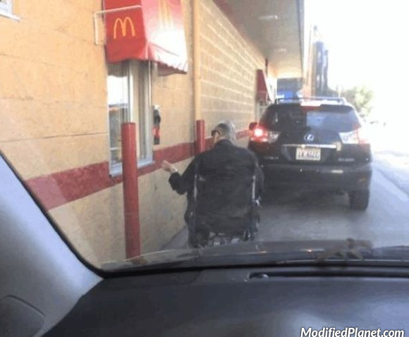 Car Photo Handicap Man Wheelchair Mcdonalds Drive Thru Fail