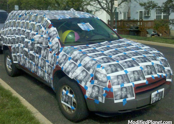 Car Photo Saturn Vue Covered In Photos Pics Of Face Prank Funny on Modified Acura Integra