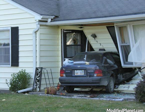1995 Toyota Tercel Drives Into Front Door Of House